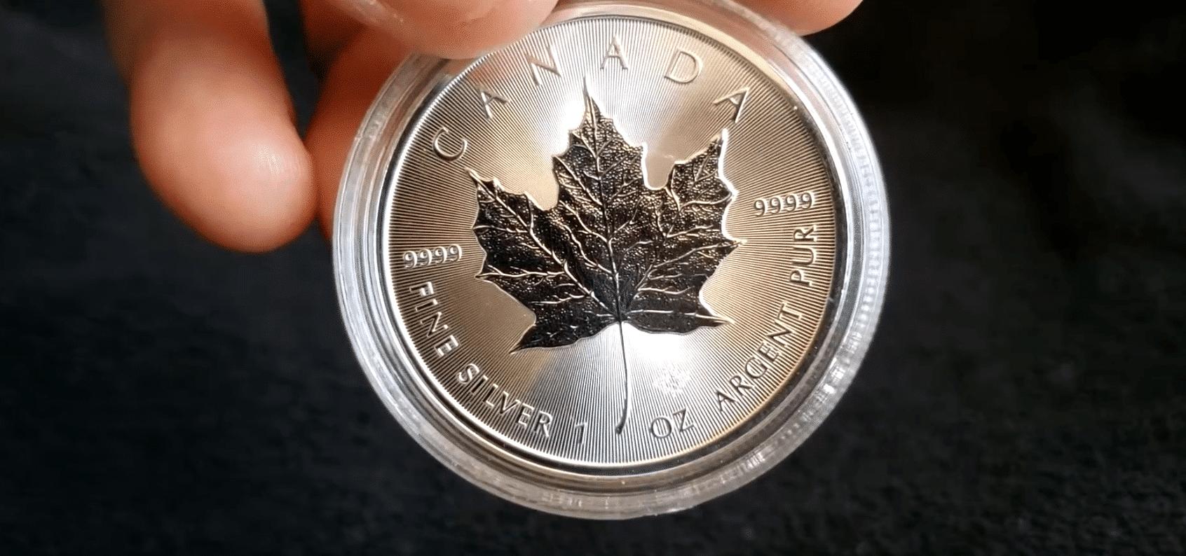 Sicherheitsmerkmal Maple Leaf Silbermünze